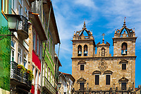 Baroque Braga Cathedral, the oldest of all cathedrals in Portugal and an important Catholic place of worship, with houses, in Braga Portugal, Europe