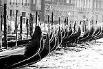 Gondolas along the Grand Canal in Venice, Italy