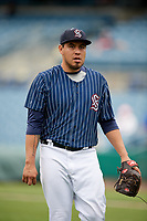 Syracuse Chiefs Cesar Vargas (31) walks back to the dugout during a game against the Lehigh Valley IronPigs on May 20, 2018 at NBT Bank Stadium in Syracuse, New York.  Lehigh Valley defeated Syracuse 5-2.  (Mike Janes/Four Seam Images)