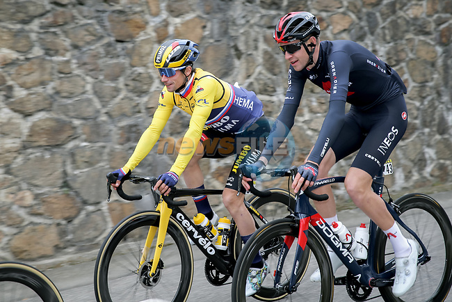 The peloton including Yellow Jersey Primoz Rogloc (SLO) Team Jumbo-Visma and Laurens De Plus Ineos Grenadiers (BEL) during Stage 5 of Paris-Nice 2021, running 200km from Vienne to Bollene, France. 11th March 2021.<br /> Picture: ASO/Fabien Boukla | Cyclefile<br /> <br /> All photos usage must carry mandatory copyright credit (© Cyclefile | ASO/Fabien Boukla)