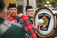 Halton Regional police pipe band rehearse before a parade in Ottawa Sunday September 26, 2010.