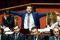 Matteo Salvini smiling<br /> Roma 07/11/2018. Senato. Voto di Fiducia sul DL Sicurezza.<br /> Rome November 7th 2018. Senate. Trust Vote on Security Decree.<br /> Foto Samantha Zucchi Insidefoto