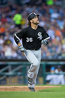 Kevan Smith (36) of the Chicago White Sox runs down the first base line during the game against the Detroit Tigers at Comerica Park on June 2, 2017 in Detroit, Michigan.  The Tigers defeated the White Sox 15-5.  (Brian Westerholt/Four Seam Images)