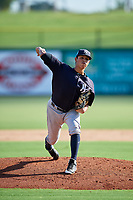 New York Yankees pitcher Miguel Yajure (45) delivers a pitch during a Florida Instructional League game against the Philadelphia Phillies on October 12, 2018 at Spectrum Field in Clearwater, Florida.  (Mike Janes/Four Seam Images)