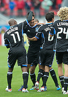 24 March 2012: The San Jose Earthquakes celebrate a goal by San Jose Earthquakes forward Chris Wondolowski #8 during the first half in a game between the San Jose Earthquakes and Toronto FC at BMO Field in Toronto..
