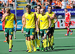 The Hague, Netherlands, June 07: Kieran Govers #27 of Australia is congratulated by teammates during the field hockey group match (Men - Group A) between England and Australia on June 7, 2014 during the World Cup 2014 at Kyocera Stadium in The Hague, Netherlands. Final score 0-5 (0-4) (Photo by Dirk Markgraf / www.265-images.com) *** Local caption *** Timothy Deavin #19 of Australia, Matt Gohdes #16 of Australia, Kieran Govers #27 of Australia, Matthew Swann #20 of Australia, Liam de Young #2 of Australia