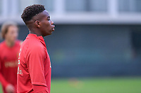 Stanis Idumbo Muzambo (10) of Belgium pictured before a soccer game between the national teams Under17 Youth teams of Belgium and Luxemburg in the Qualifying round in group 3 on wednesday 6 th of October 2020  in Tubize , Belgium . PHOTO SPORTPIX | STIJN AUDOOREN