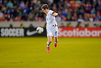 HOUSTON, TX - JANUARY 31: Megan Rapinoe #15 of the United States turns and moves with the ball during a game between Panama and USWNT at BBVA Stadium on January 31, 2020 in Houston, Texas.
