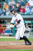 Jacob Stallings (32) of the Indianapolis Indians follows through on his swing at Victory Field on May 14, 2019 in Indianapolis, Indiana. The Indians defeated the RailRiders 4-2. (Andrew Woolley/Four Seam Images)