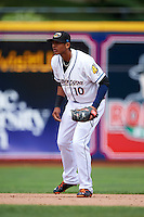 Akron RubberDucks shortstop Erik Gonzalez (10) during a game against the New Britain Rock Cats on May 21, 2015 at Canal Park in Akron, Ohio.  Akron defeated New Britain 4-2.  (Mike Janes/Four Seam Images)