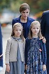 Princess Sofia of Spain, Princess Leonor of Spain and Queen Letizia of Spain during Spanish National Day military parade in Madrid, Spain. October 12, 2015. (ALTERPHOTOS/Pool)
