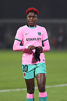 Asisat Oshoala (20 Barcelona) pictured with her gloves during a female soccer game between PSV Eindhoven Vrouwen and Barcelona, in the round of 32, 1st leg of Uefa Womens Champions League of the 2020 - 2021 season , Wednesday 9th of December 2020  in , Eindhoven, the Netherlands. PHOTO SPORTPIX.BE | SPP | SEVIL OKTEM