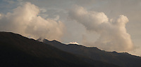 Moody sunset with clouds above Olivine Ranges, West Coast, South Westland, UNESCO World Heritage Area, New Zealand, NZ