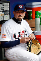 Jason Varitek of the USA during the World Baseball Championships at Angel Stadium in Anaheim,California on March 12, 2006. Photo by Larry Goren/Four Seam Images