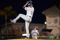 Fort Myers Miracle relief pitcher Todd Van Steensel (21) delivers a pitch during a game against the Bradenton Marauders on April 9, 2016 at McKechnie Field in Bradenton, Florida.  Fort Myers defeated Bradenton 5-1.  (Mike Janes/Four Seam Images)