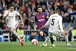 Real Madrid CF's Sergio Reguilon and Raphael Varane and FC Barcelona's Leo Messi during La Liga match. March 02,2019. (ALTERPHOTOS/Alconada)