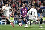 Real Madrid CF's Sergio Reguilon and Raphael Varane and FC Barcelona's Leo Messi during La Liga match. March 02,2019. (ALTERPHOTOS/Alconada)