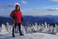 Winter climber at the summit of Mt Clinton in the White Mountains of NH. On Fujichrome Provia 100 film. Bill McDonald. Mt Clinton NH USA White Mountains.