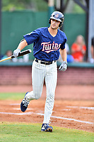 Elizabethton Twins Matt Wallner (48) tosses his bat after being walked during a game against the Kingsport Mets at Joe O'Brien Field on July 6, 2019 in Elizabethton, Tennessee. The Twins defeated the Mets 5-3. (Tony Farlow/Four Seam Images)