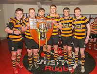 SCF2016 - RBAI vs Campbell College | Thursday 17th March 2016<br /> <br /> The front five - Neil Saulters, John Dickson, Callum Reid, Harry Gallagher, Pierce McLernon and Blair Robinson after  the Ulster Schools Cup Final between RBAI and Campbell College at Kingspan Stadium, Ravenhill Park, Belfast, Northern Ireland. Photo credit: John Dickson / DICKSONDIGITAL