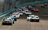 HOMESTEAD, FLORIDA - JUNE 14: Brandon Jones, driver of the #19 Menards/Fisher Toyota, leads a pack of cars during the NASCAR Xfinity Series Contender Boats 250 at Homestead-Miami Speedway on June 14, 2020 in Homestead, Florida. (Photo by Michael Reaves/Getty Images)