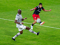 WASHINGTON, DC - NOVEMBER 8: Edison Flores #10 of D.C. United crosses the ball during a game between Montreal Impact and D.C. United at Audi Field on November 8, 2020 in Washington, DC.