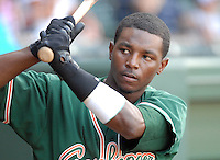 Outfielder Rand Smith (21) of the Greensboro Grasshoppers in a game against the Greenville Drive on June 14, 2010, at Fluor Field at the West End in Greenville, S.C. Photo by: Tom Priddy/Four Seam Images
