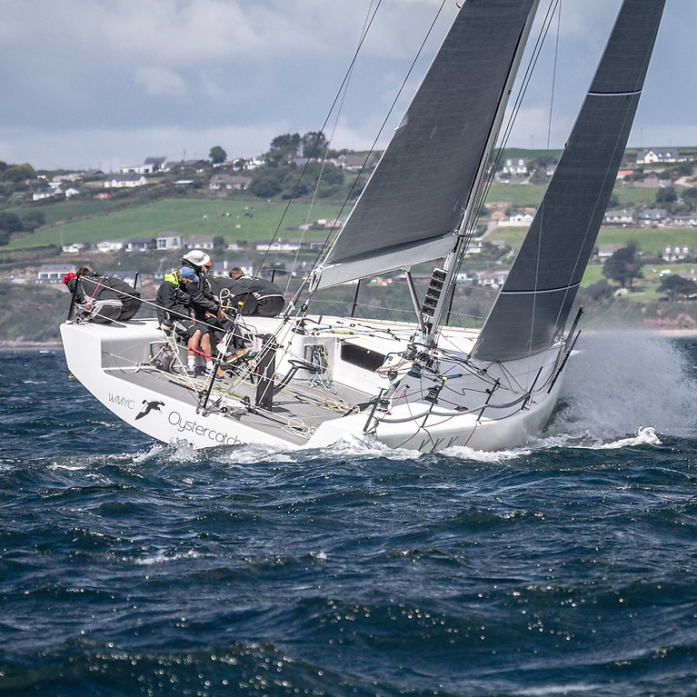 The Judel-Vrolik-designed HH42 Oystercatcher (Richard Matthews) racing at Cork Week in 2014. Built in China, the HH42 is still extremely competitive, and INO XXX of this marque, owned by James Neville, is currently leading the IRC Division overall in the Fastnet Race with 30 miles to sail to the finish in light winds, but with a fair tide until 22:30 hrs