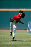 Teo Banks (4) of Permian High School in Odessa, TX during the Perfect Game National Showcase at Hoover Metropolitan Stadium on June 19, 2020 in Hoover, Alabama. (Mike Janes/Four Seam Images)