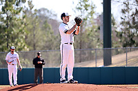 CARY, NC - FEBRUARY 23: Conor Larkin #25 of Penn State University during a game between Wagner and Penn State at Coleman Field at USA Baseball National Training Complex on February 23, 2020 in Cary, North Carolina.