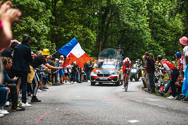 Jelle Wallays (BEL) Cofidis in action during Stage 5 of the 2021 Tour de France, an individual time trial running 27.2km from Change to Laval, France. 30th June 2021.  <br /> Picture: A.S.O./Charly Lopez | Cyclefile<br /> <br /> All photos usage must carry mandatory copyright credit (© Cyclefile | A.S.O./Charly Lopez)