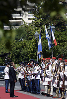 Pictured: French President Emmanuel Macron inspects the Pridential Guards outside the Presidential Mansion in Athens, Greece. Thurday 07 September 2017<br /> Re: The official welcome of French President Emmanuel Macron for his state visit to Athens, Greece.