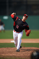 Batavia Muckdogs relief pitcher Colton Hock (13) delivers a pitch during the first game of a doubleheader against the Mahoning Valley Scrappers on September 4, 2017 at Dwyer Stadium in Batavia, New York.  Mahoning Valley defeated Batavia 4-3.  (Mike Janes/Four Seam Images)