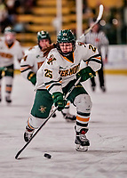 9 February 2018: University of Vermont Catamount Forward Alyssa Holmes, a Freshman from Burlington, Ontario, in second period action against the University of Connecticut Huskies at Gutterson Fieldhouse in Burlington, Vermont. The Lady Cats defeated the Huskies 1-0 the first game of their weekend Hockey East series. Mandatory Credit: Ed Wolfstein Photo *** RAW (NEF) Image File Available ***