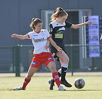 Amber De Priester (6) of Zulte-Waregem and Loes Van Mullem (33) of Eendracht Aalst  pictured during a female soccer game between SV Zulte - Waregem and Eendracht Aalst on the 17 th matchday of the 2020 - 2021 season of Belgian Scooore Womens Super League , saturday 20 th of March 2021  in Zulte , Belgium . PHOTO SPORTPIX.BE | SPP | DIRK VUYLSTEKE
