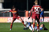 Vanessa Bernauer of AS Roma and Melania Martinovic of Florentia compete for the ball during the Women Italy cup round of 8 second leg match between AS Roma and Florentia S.G. at stadio delle tre fontane, Roma, February 14, 2021. Photo Andrea Staccioli / Insidefoto