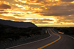 A winding road at sunrise in Los Glaciares National Park.