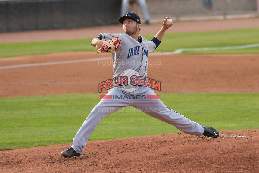 Lake County Captains pitcher Sean Brady (8) delivers a pitch during a Midwest League game against the Wisconsin Timber Rattlers on June 3rd, 2015 at Fox Cities Stadium in Appleton, Wisconsin. Wisconsin defeated Lake County 3-2. (Brad Krause/Four Seam Images)