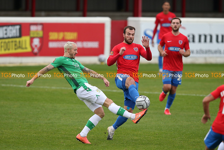 Rhys Murphy of Yeovil Town and Mitch Brundle of Dagenham and Redbridge during Dagenham & Redbridge vs Yeovil Town, Vanarama National League Football at the Chigwell Construction Stadium on 17th October 2020
