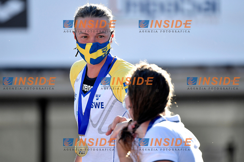 Sarah Sjostrom reacts during the prize ceremony of the women 100m butterly during the 58th Sette Colli Trophy International Swimming Championships at Foro Italico in Rome, June 26th, 2021. Sarah Sjostrom placed first.