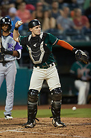 Greensboro Grasshoppers catcher Grant Koch (23) on defense against the Winston-Salem Dash at First National Bank Field on June 3, 2021 in Greensboro, North Carolina. (Brian Westerholt/Four Seam Images)