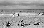 Bondi beach, morning exercising, stretching and power walking. Sydney Australia.