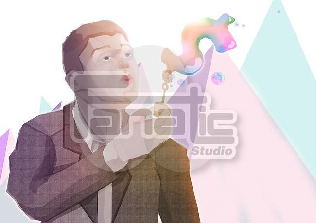 Illustrative image of businessman blowing dollar bubble representing profit