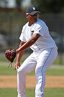 Detroit Tigers minor league pitcher Michael Torrealba (46) vs. the Philadelphia Phillies during an Instructional League game at Tiger Town in Lakeland, Florida;  October 13, 2010.  Photo By Mike Janes/Four Seam Images