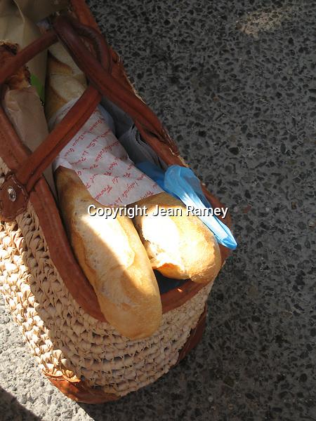 French bread in a market basket