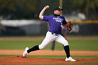 Pitcher John Asencio (2) during the Perfect Game National Underclass East Showcase on January 23, 2021 at Baseball City in St. Petersburg, Florida.  (Mike Janes/Four Seam Images)