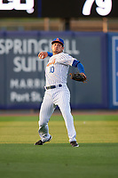 St. Lucie Mets left fielder Cody Bohanek (10) throws the ball in during a Florida State League game against the Florida Fire Frogs on April 12, 2019 at First Data Field in St. Lucie, Florida.  Florida defeated St. Lucie 10-7.  (Mike Janes/Four Seam Images)