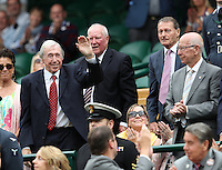 02.07.2016. All England Lawn Tennis and Croquet Club, London, England. The Wimbledon Tennis Championships Day Six. Guests in the Royal Box on Centre Court today included stars of the sporting world including (left to right) 1966 World Cup winners Gordon Banks, Ron Flowers, Roger Hunt and Sir Bobby Charlton.