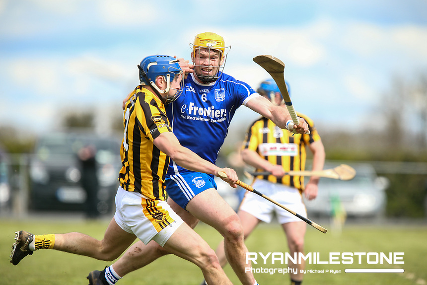 Padraig Greene of Upperchurch/Drombane in action against Padraic Maher of Thurles Sarsfields during the Centenary Agri Mid Senior Hurling Championship Quarter Final between Thurles Sarsfields and Upperchurch/Drombane on Saturday 28th April 2018 at Templetuohy, Co Tipperary, Photo By Michael P Ryan