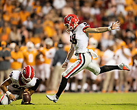 KNOXVILLE, TN - OCTOBER 5: Rodrigo Blankenship #98 of the Georgia Bulldogs kicks a field goal during a game between University of Georgia Bulldogs and University of Tennessee Volunteers at Neyland Stadium on October 5, 2019 in Knoxville, Tennessee.